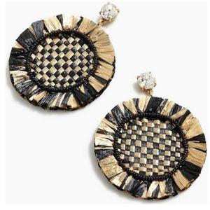 J.Crew raffia fringe disc earrings
